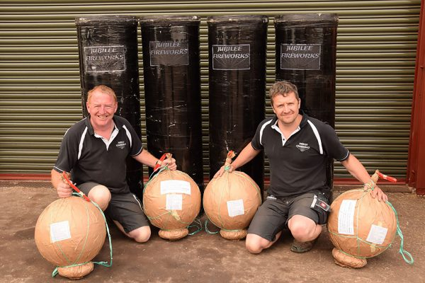 Gerry Lewis and Andrew Wiggins with Largest Shells Fired in Any UK Firework Event